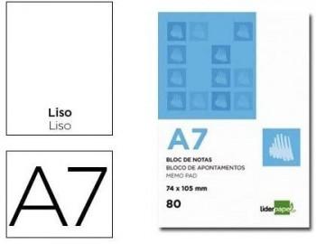 BLOC NOTAS LIDERPAPEL LISO A7 80 HOJAS 60G/M2 PERFORADO