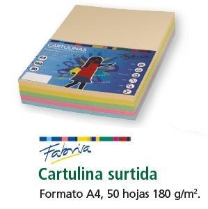 FABRISA CARTULINA 180GR A4 50H SURTIDO FUERTE
