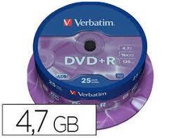 DVD-R VERBATIM CAPACIDAD 4,7 GB VELOCIDAD 16X PACK 25 UNIDADES